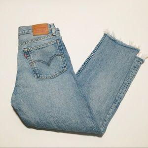 EUC Levis Distressed Raw Hem Light Denim Jeans